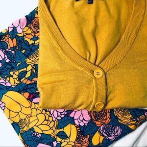 Lularoe TC floral mustard leggings & cardigan
